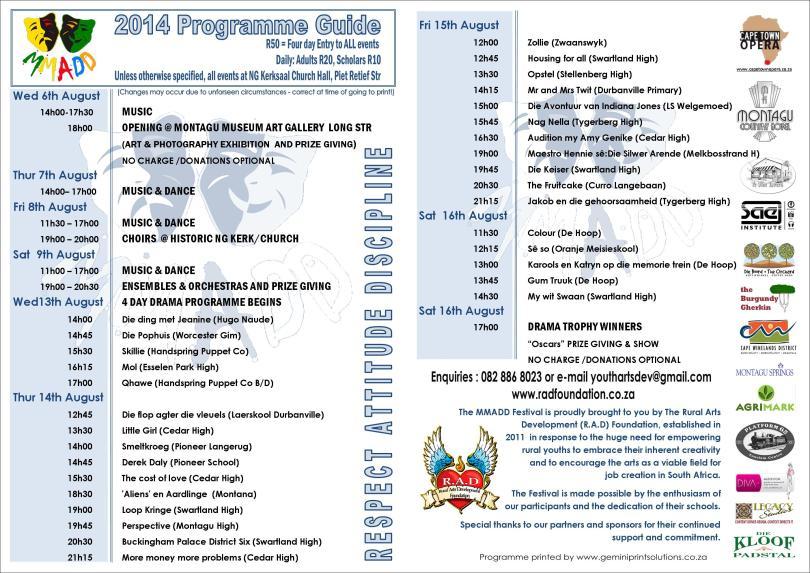 MMADD 2014 PROGRAMME GUIDE INSIDE 300DPI